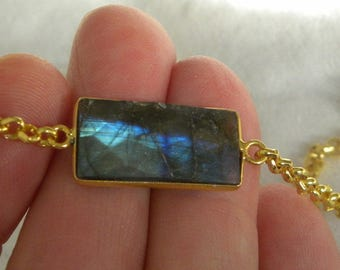 "Labradorite Necklace Labradorite Pendant Handmade Blue Semiprecious Gemstone 15-24"" Goldtone Chain Pendant Take 20% Off Labradorite Jewelry"