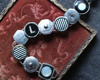 Antique Cufflink Bracelet, black, white and silver vintage jewelry up cycled men's women Krementz snap tight L recycled 1920's monogrammed