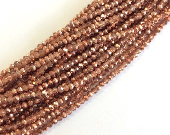 """2mm faceted copper tone Rondelle cyrstal  beads 15.5 """" strand"""
