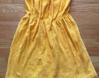 Vintage 70s California Gold terry cloth strapless mini swim cover-up small
