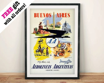 ARGENTINA TRAVEL POSTER: Vintage Buenos Aires Advert Art Print Wall Hanging