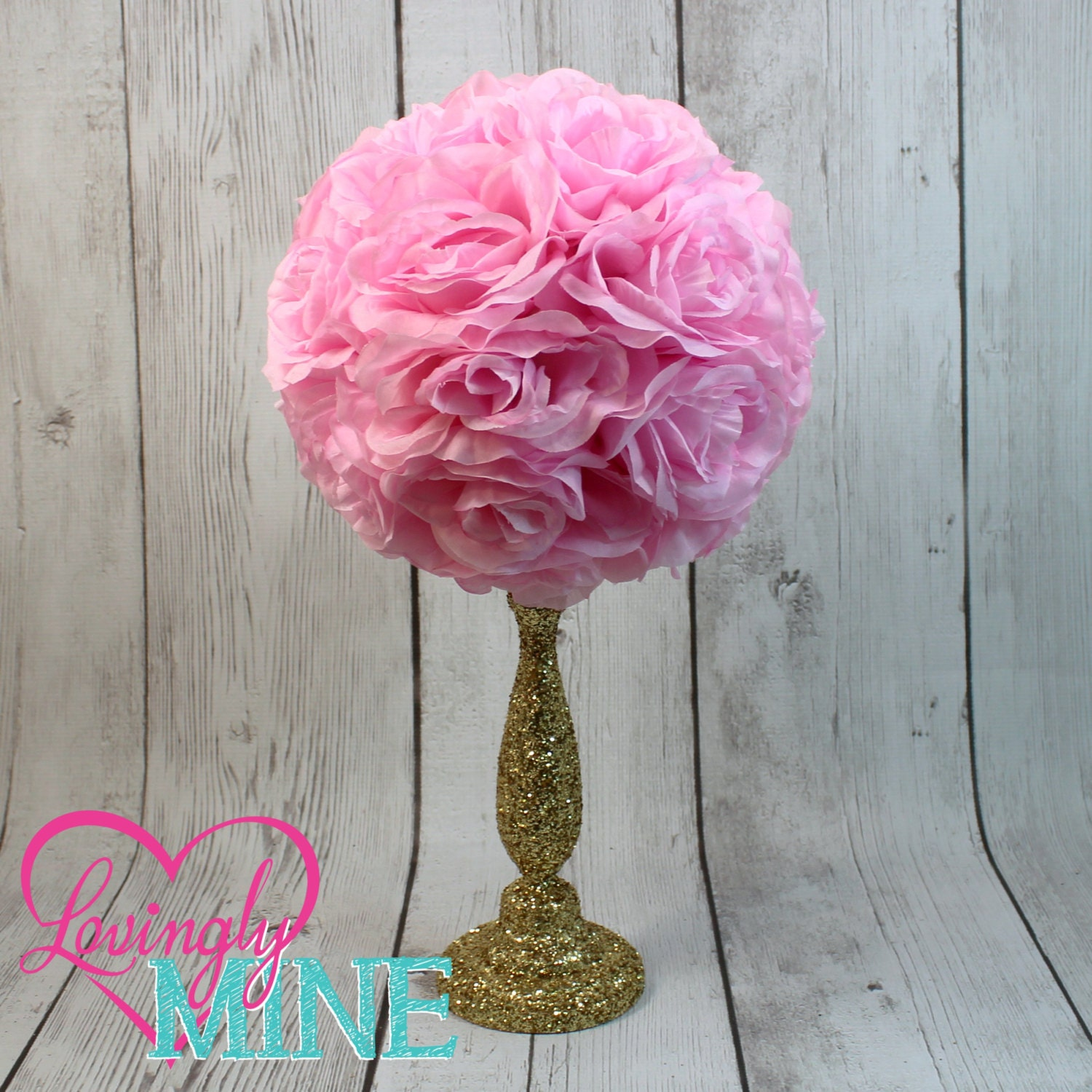 Centerpiece pink rose pomander glitter gold vase royal baby