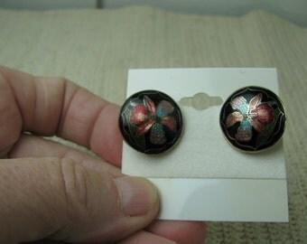 80's flower cloisonne clip on earrings