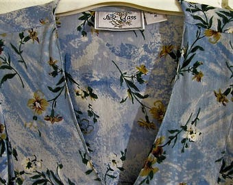 90's blue floral rayon maxi dress size M