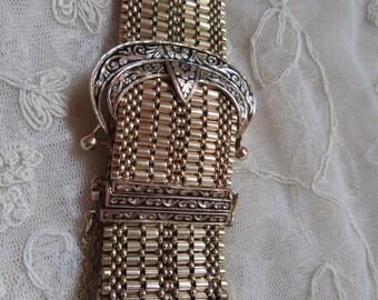 14k Victorian Taille d'Epargné Enamel Hidden Watch Buckle Bracelet 78.2 Grams Appraised! Geneva Watch Fine Estate Jewelry