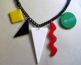 Cool 1980's Color Block Lucite Shapes Charm Necklace Black Metal Chain Vintage Costume Jewelry 1980's Accessories Runway MoonlightMartini