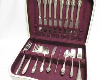 Vintage Silverplate Flatware Mixed - 32 Piece Set, Oneida, Rogers, etc. - Wedding, Tea Party, Holidays, Cottage Chic, Farmhouse