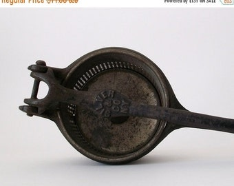 WINTER SALE Antique Potato Ricer Masher - Rustic Kitchen Farmhouse Cottage Chic