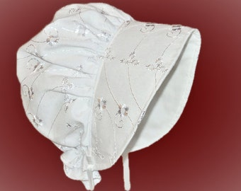 Baby Bonnet, Sun Hat, White Or Pink Eyelet Sun Bonnet, Summer Bonnet, Christening, Baptism, Toddler, Made To Order Size Newborn to 7 Yrs.