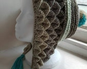 Handmade crochet dragon scale hat made in snowdonia wales