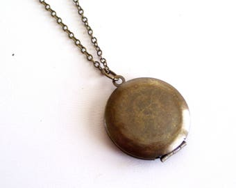 Antiqued Brass Locket, Rustic Locket, Vintage Locket, Boho Unisex Locket, Round Dark Brass Locket, Men's Locket, Primitive Pendant Necklace