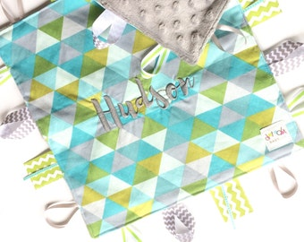 Modern Triangles - Baby Boy Toy + tag lovey sensory security blanket with gray minky personalized embroidered