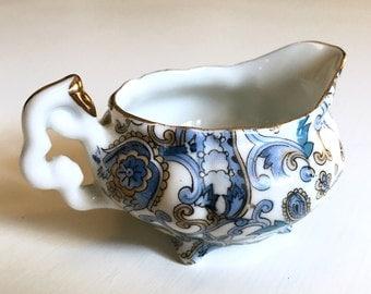 Vintage Lefton China Mini Footed Creamer - Hand Painted Blue Paisley