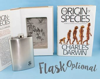 Book SAFE Charles Darwin Origin of Species hollow book. Personalized flask. Science teacher scientist biologist, natural history Darwinism