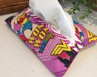 Wonder Woman Super Woman Pocket Kleenex Tissue Holder Fabric Feminine Products