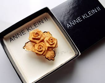Vintage Anne Klein  3 Dimensional Mesh Rose Flower Pin Brooch in Box # 914