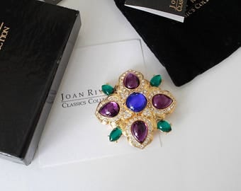 Rare Signed Joan Rivers  Maltese cross Brooch Pin #1077