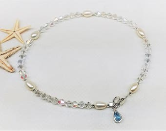 Genuine Aquamarine Anklet Something Blue Anklet Clear AB Crystal White Pearl Anklet Sterling Silver Anklet Beach Wedding Anklet Buy3+1Free
