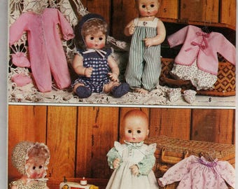 Baby Doll Clothes, Simplicity 5615, UNCUT, 13-14 Inch Dolls, 15-16 Inch Dolls, 17-18 Inch Dolls, Doll Dresses and Pinafores, Doll Rompers