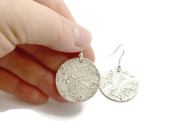 Large Round Silver Earrings, Paisley Textured Dangle Earrings,gift under100,gift for women,Fine Jewelry,Handmade Original,Christmas Gift