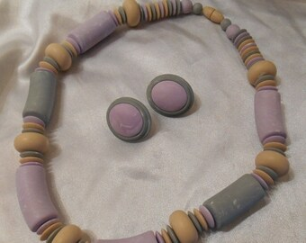 25% OFF SALE Avon Sunbleached Colors Choker Necklace and Clip Earrings in lavender and blue