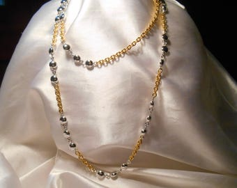 Monet Signed Gold Tone Chain and Silver Tone Bead Long Fashion Necklace