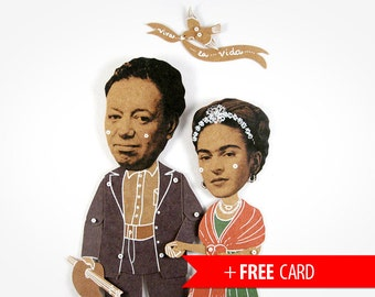 Frida Kahlo and Diego Rivera articulated paper dolls handmade greeting card mexican artists puppets unusual birthday gift couple portrait