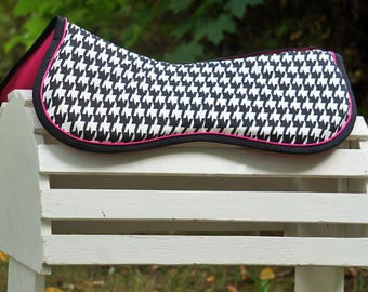 MADE TO ORDER Large Houndstooth Memory Foam Half Pad with Piping