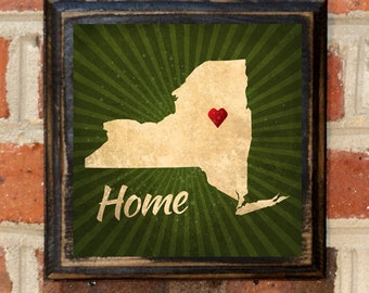 New York NY Home Heart Wall Art Sign Plaque Gift Present Home Decor Custom Location Personalized Color Vintage Style Albany Brooklyn Antique