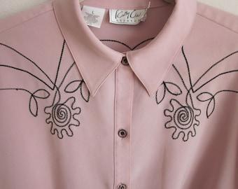 Vintage shirt blouse fancy black stitched career top pale pink western look L