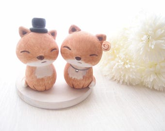 Love Wedding Cake Toppers - Red Fox with base