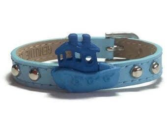 Kids Leather Bracelet -  Children Buckle Bracelet - Boat Bracelet- Gift for Child  - Childs Buckle Bracelet