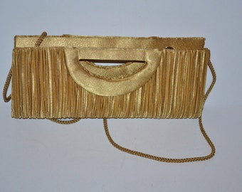 Vintage 90s mustard yellow gold satin bag Pleated Bijoux Terner Handbag clutch evening purse Mad Men Cell phone cosmetic small purse wedding