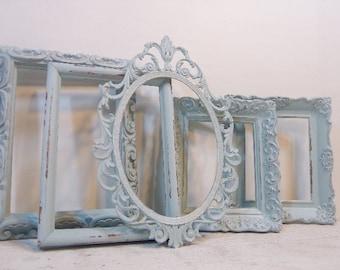 Ornate Chalk Painted  Frames Set/ 5 Open Frames/Wall Gallery Frames/Frame Collection/Frame Lot/Nursery Frames