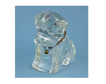 Glass Paperweight or Candy Container - Federal Glass Mopey / Sad Dog Candy Container C1940s - Office / Home Decor Glass Collectible Figurine