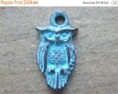 ON SALE Mykonos Owl Charm 15mm x 7mm Diamond Green Patina QTY 5