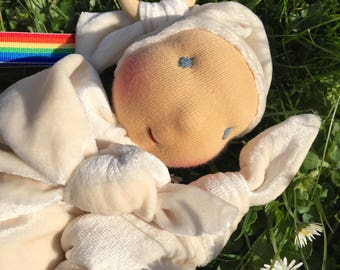 Baby blanket cuddle doll, baby's first doll, natural materials, waldorf inspired