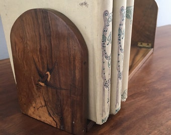Sorrento Ware Marquetry Wooden Folding Book Rack Swallows