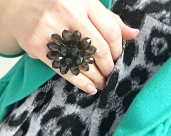 Smokey Quartz Cocktail Ring Beaded Faceted Flower