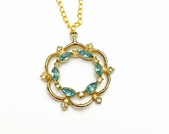 Vintage 1970's Pendant, Blue & Clear Rhinestones Wreath, Gold Tone, Matching Necklace, Item No. B337