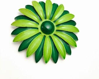 Green Enamel Flower Brooch, Floral Design, Vintage Figural, Wedding Bouquet, Clearance Sale, Item No. B736
