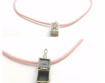 Vintage silver Prayer Box PENDANT/Necklace, Love Box, wish box, pink cord, Clearance Sale, item no. S168