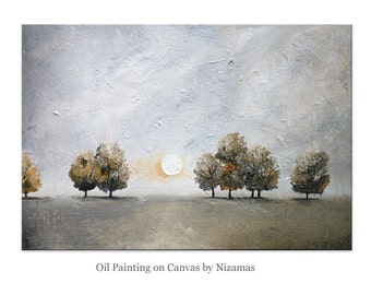 "Painting on canvas  Dusk  36"" x 24"" Contemporary  landscape Oil  Heavy thick Texture ready to ship"