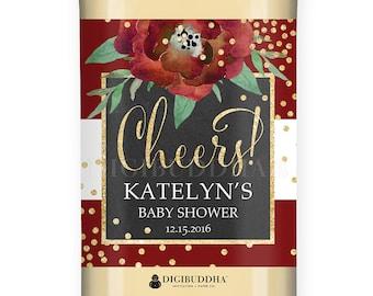 BABY Shower WINE LABEL Christmas Baby Shower Floral Holiday Baby Shower Wine Label Centerpiece Custom Personalized Wine Bottle - Katelyn