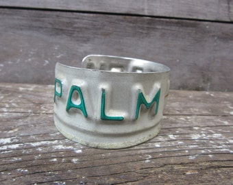 Vintage Palm Beach Florida License Plate Cuff Bracelet Upcycled License Plate Folk Art Industrial Jewelry Mens Womens Unisex Vintage Old