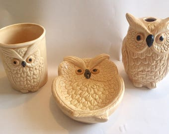 Vintage 1970s Ceramic Bath Owl Toothbrush, Soap Dish & Cup Set