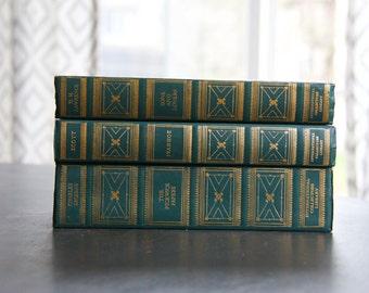 Set of 3 Vintage Green & Gold Gilt International Collectors Library Books