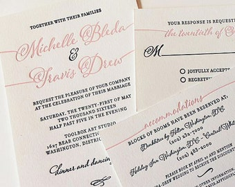 Navy and Pink Letterpress Wedding Invitation Modern Calligraphy Letterpress Wedding Invitation Two Color Letterpress Invitation