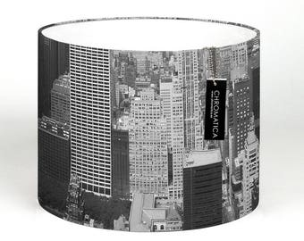 Lamp Shade - New York from Above II. Photography lampshade, urban, NYC, black and white.