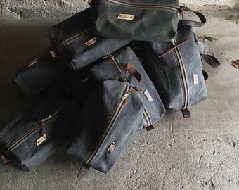 Dopp kit toiletry bag waxed canvas dopp kit travel bag Black